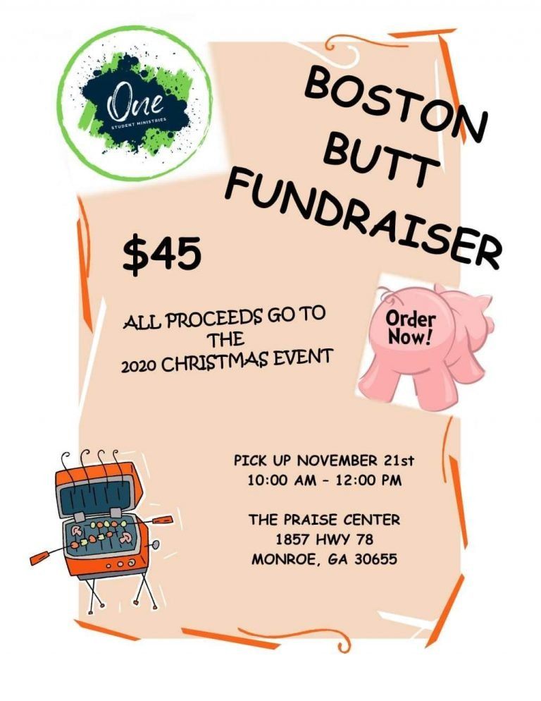 Order your Boston Butt now for pickup on November 21st!  Great meal for some Saturday football!  There is an order form at the welcome desk or any youth can take your order.  All proceeds will go towards the local Christmas Outreach Project.